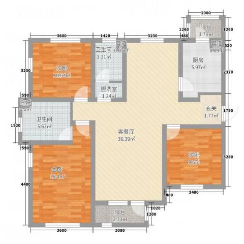 西缆高层3室2厅2卫1厨134.00㎡户型图