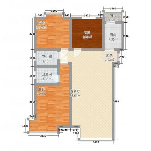 万润城市花园3室1厅2卫1厨88.01㎡户型图