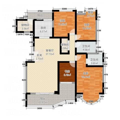 西缆高层4室1厅2卫1厨179.00㎡户型图