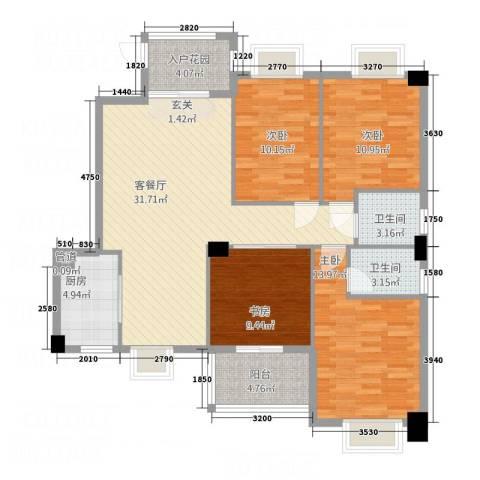 万联蓝湾国际4室1厅2卫1厨1136.00㎡户型图