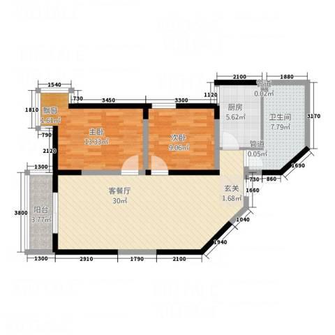 西缆高层2室1厅1卫1厨100.00㎡户型图