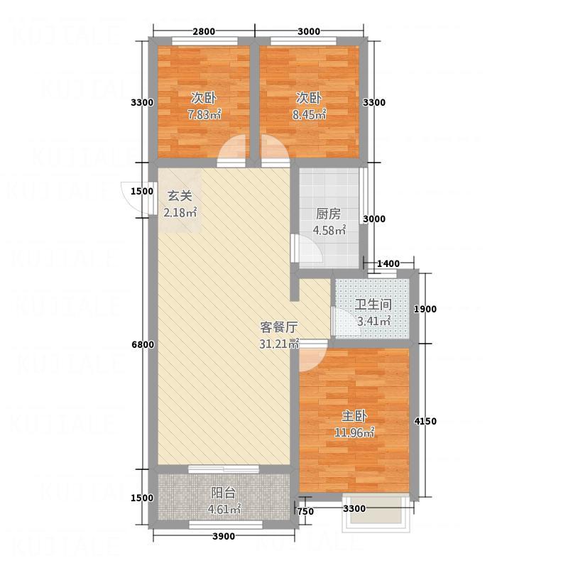 中悦城113215.12㎡C户型3室2厅1卫1厨