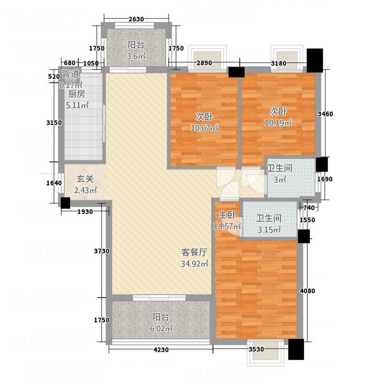 万联蓝湾国际1128.20㎡A1户型3室2厅2卫1厨