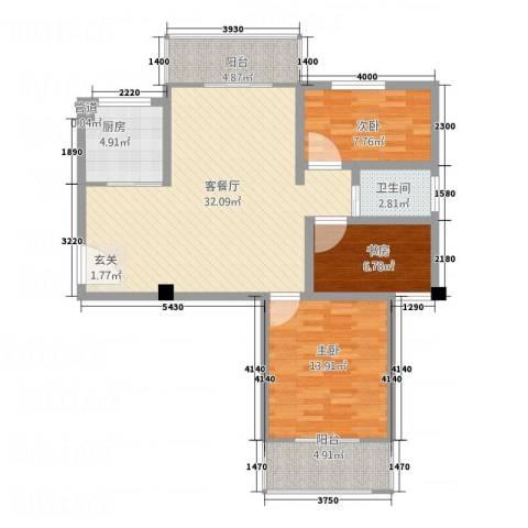 中亨尊品3室1厅1卫1厨111.00㎡户型图