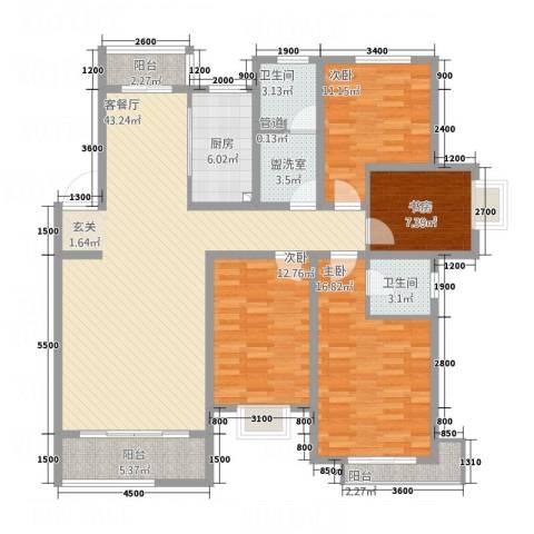 海通时代康桥4室2厅2卫1厨169.00㎡户型图