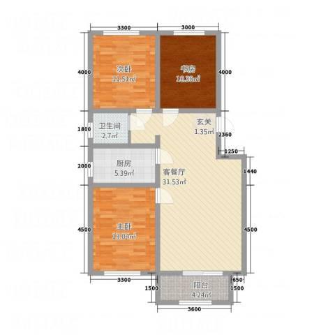 龙屿墅3室1厅1卫1厨116.00㎡户型图