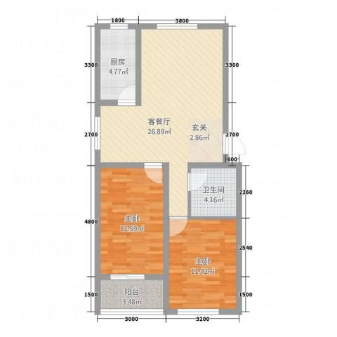 龙屿墅2室1厅1卫1厨88.00㎡户型图
