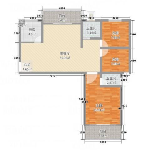 中亨尊品3室1厅2卫1厨125.00㎡户型图