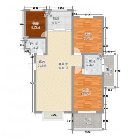 金鑫・盐湖城3室1厅2卫1厨105.14㎡户型图