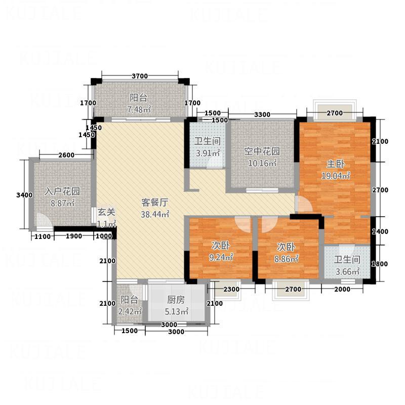 港龙湾・波托菲诺15141.20㎡15#1/3单元3+2A5室户型5室2厅2卫1厨
