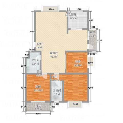 金鑫・盐湖城3室1厅2卫1厨122.65㎡户型图