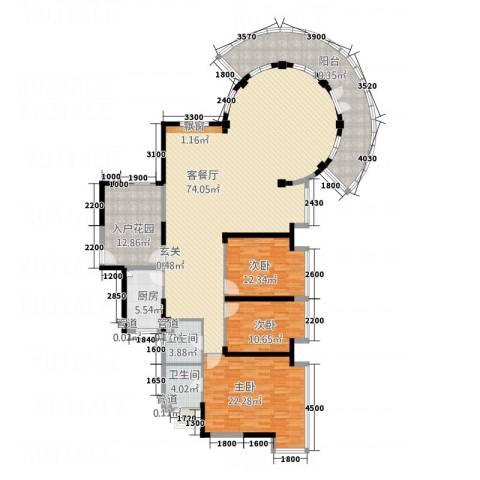 熙龙小镇3室1厅2卫1厨185.00㎡户型图