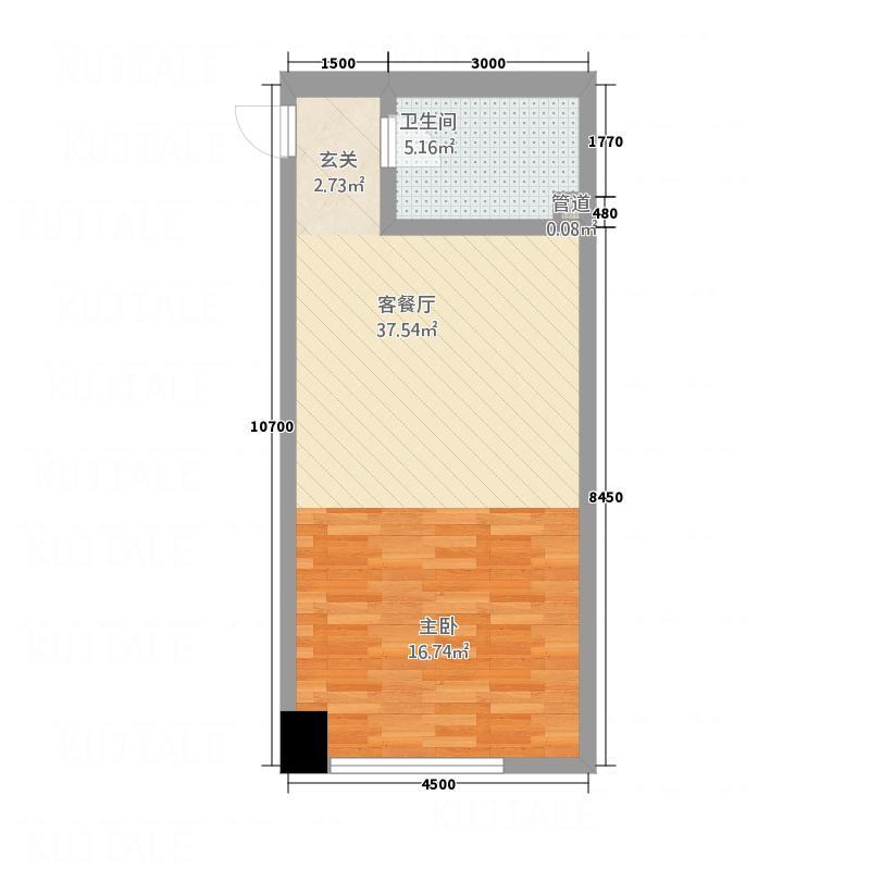 瀚威城市中心64.12㎡A5户型1室1厅1卫