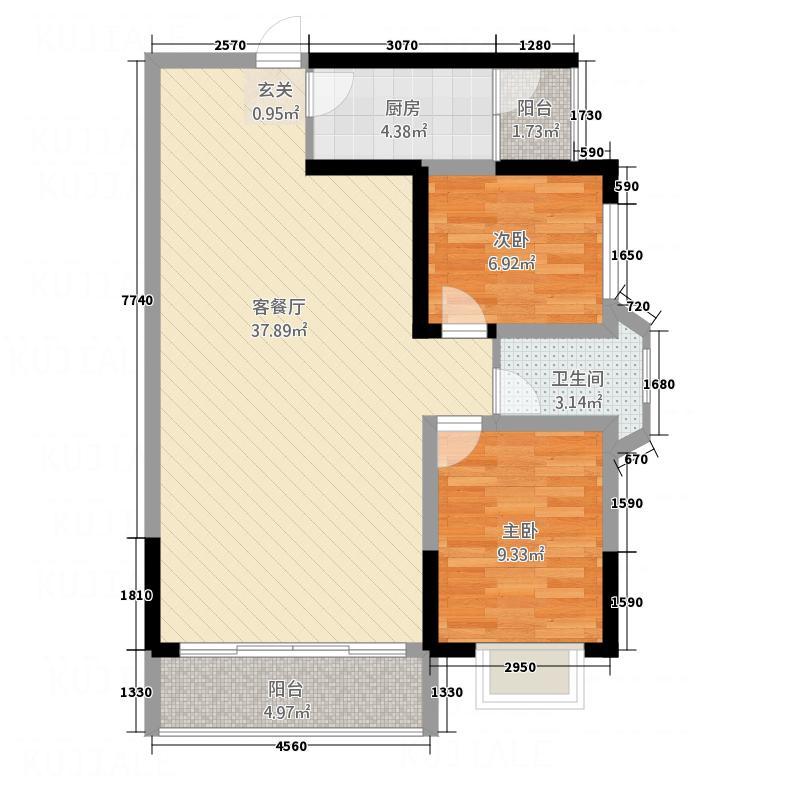 方正园7.51㎡E户型2室2厅1卫