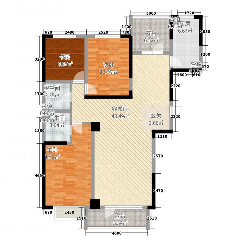 长湖新城135.10㎡户型3室2厅