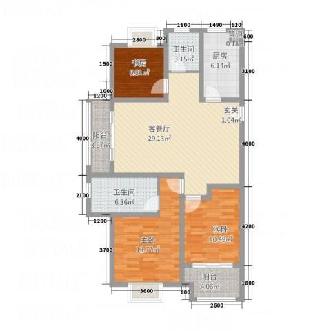 牡丹领秀汇3室1厅2卫1厨122.00㎡户型图