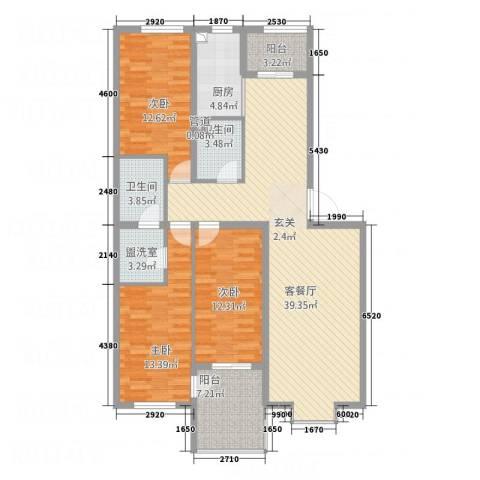 永康城市花园3室2厅2卫1厨147.00㎡户型图