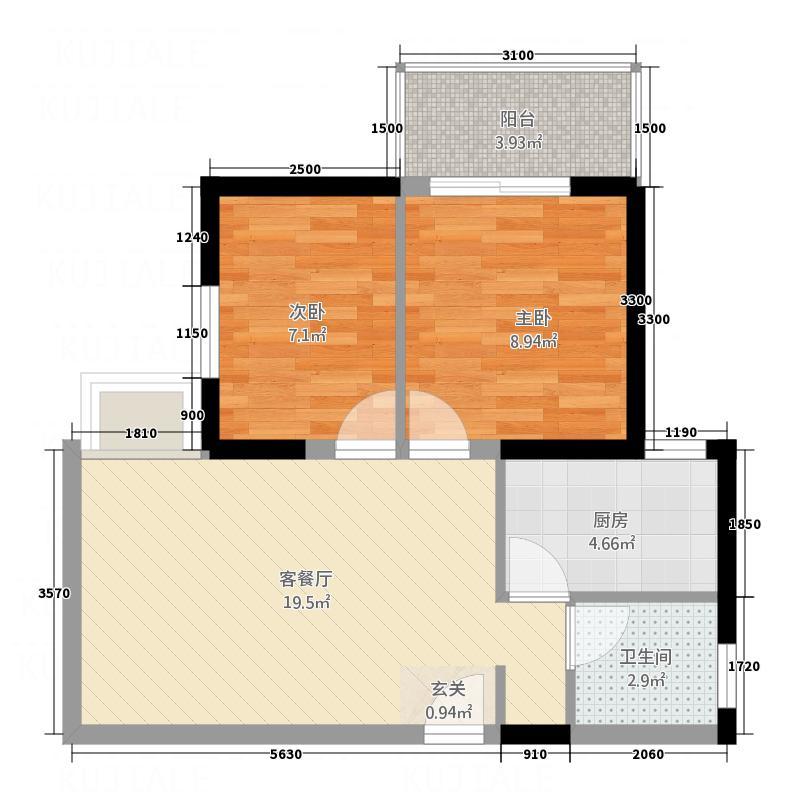 青松公寓127.00㎡户型2室