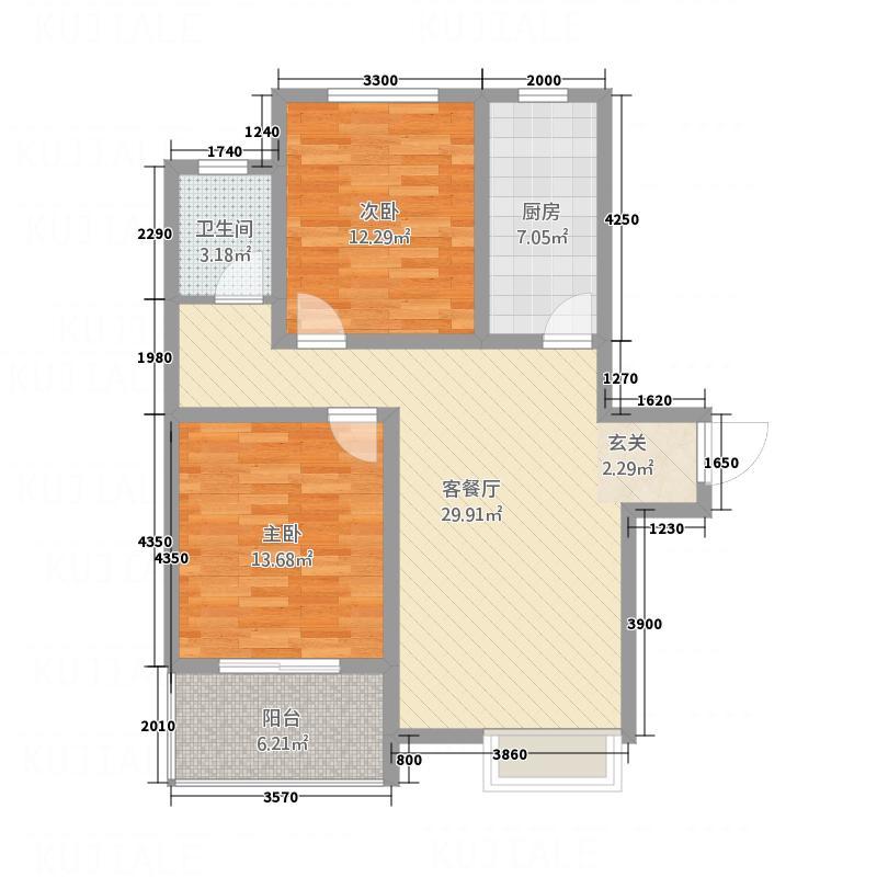 亨星锦绣城11.00㎡2户型2室2厅1卫1厨