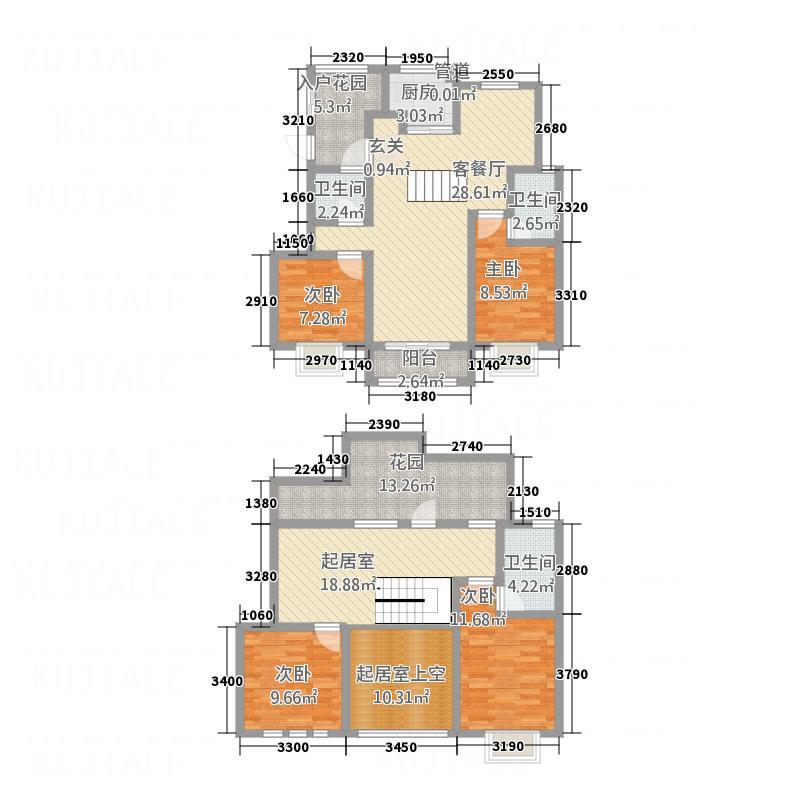 龙门印象城188.60㎡H户型4室3厅3卫1厨
