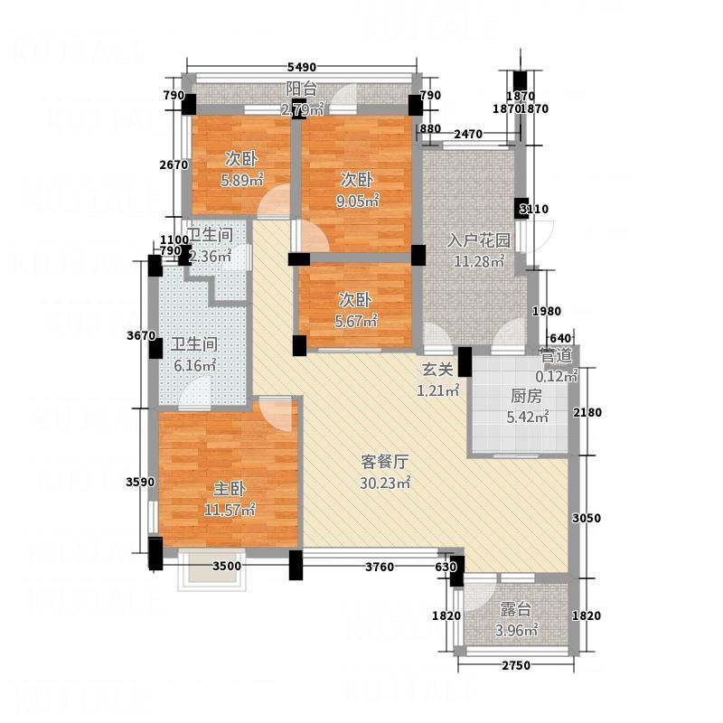 中铁堰澜山134.82㎡B型奇数层(售罄)户型4室2厅2卫1厨