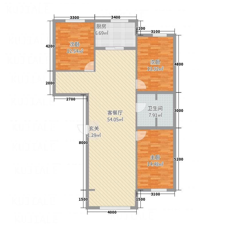 美景佳苑137.10㎡13719户型3室2厅1卫1厨