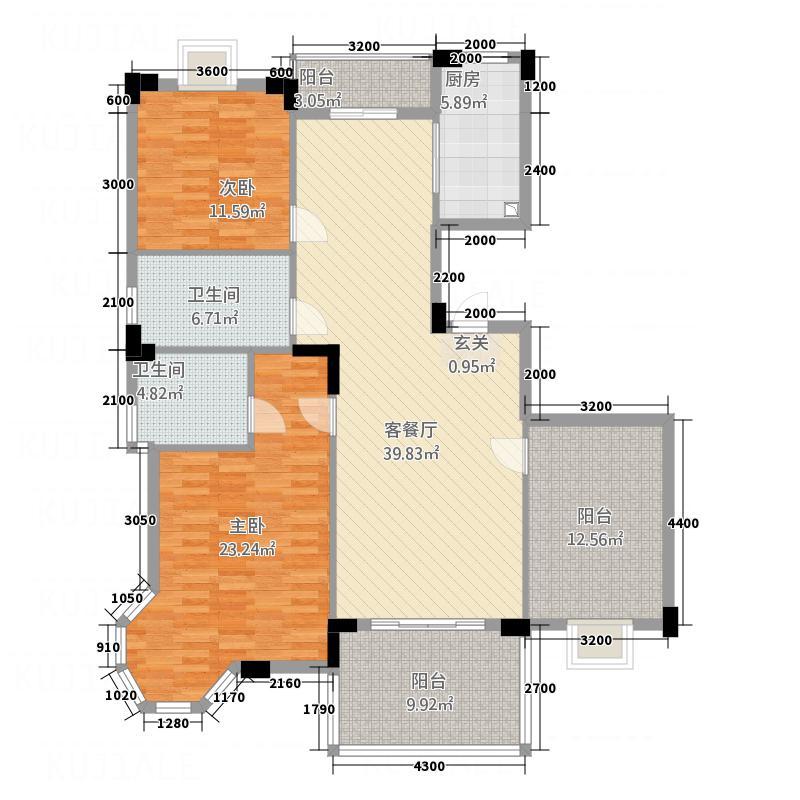 中都・章江豪园20―A户型3室2厅2卫1厨
