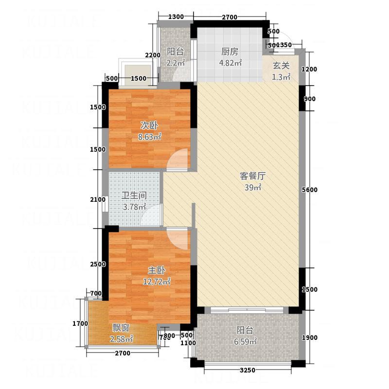 港龙湾・波托菲诺15.20㎡15#2单元两室2室户型2室2厅1卫1厨