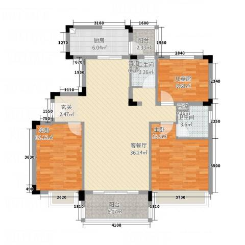 碧桂园太阳城3室1厅2卫1厨115.00㎡户型图