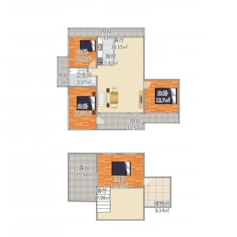 中华名城4室2厅1卫1厨230.00㎡户型图
