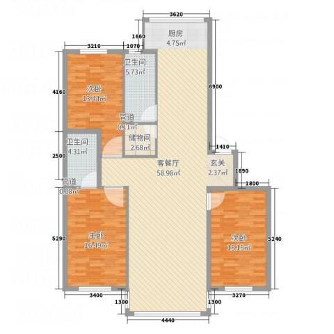黄金水岸3室1厅2卫0厨116.96㎡户型图