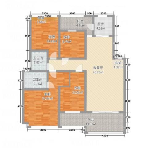 丰尚国际4室1厅2卫1厨128.15㎡户型图
