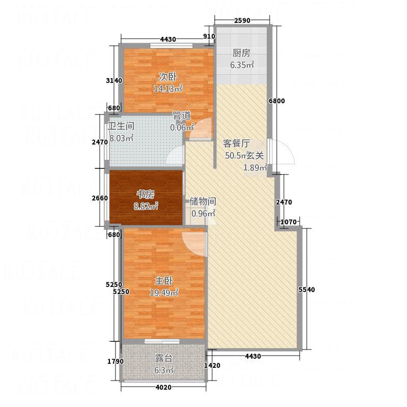 黄金水岸118.60㎡户型3室2厅1卫