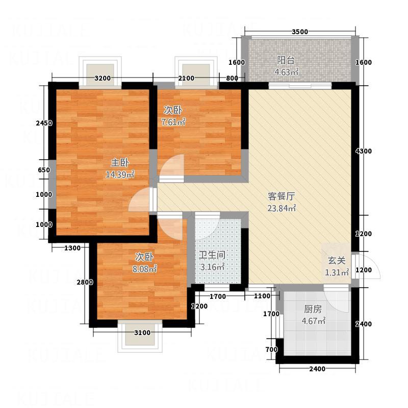 金湛・上城国际1.58㎡上城国际2#E户型3室2厅1卫