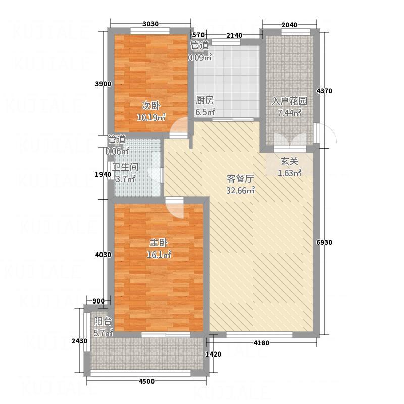 文化星城113.00㎡6-10#A户型2室2厅1卫1厨
