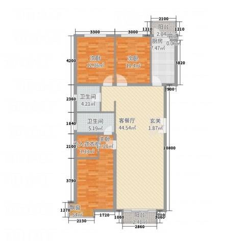 宏洋美都3室1厅2卫1厨154.00㎡户型图