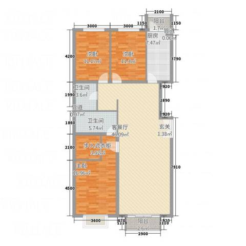 宏洋美都3室1厅2卫1厨156.00㎡户型图