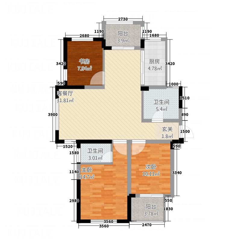 华轩中鑫御景123.00㎡I户型3室2厅2卫