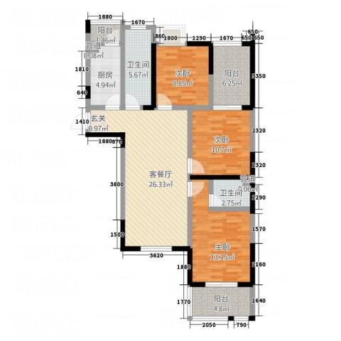 邵村家园3室1厅2卫1厨125.00㎡户型图