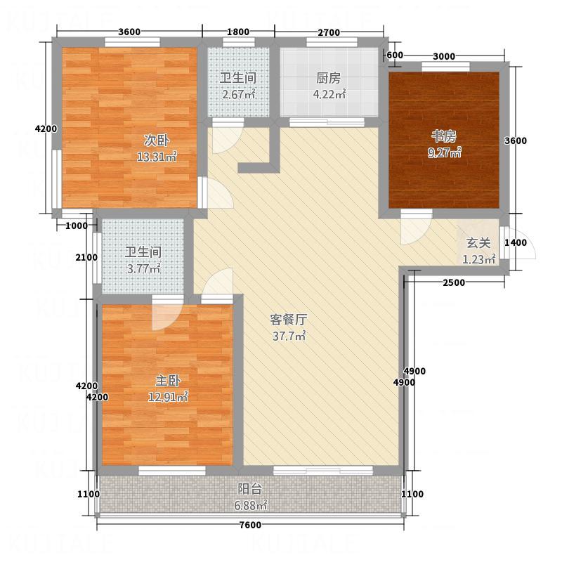 未来宜居126.00㎡A户型3室2厅2卫1厨
