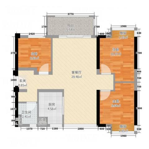 万科MAGA社区3室1厅1卫1厨69.14㎡户型图