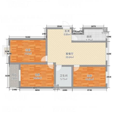 祥和家园3室1厅1卫1厨123.00㎡户型图
