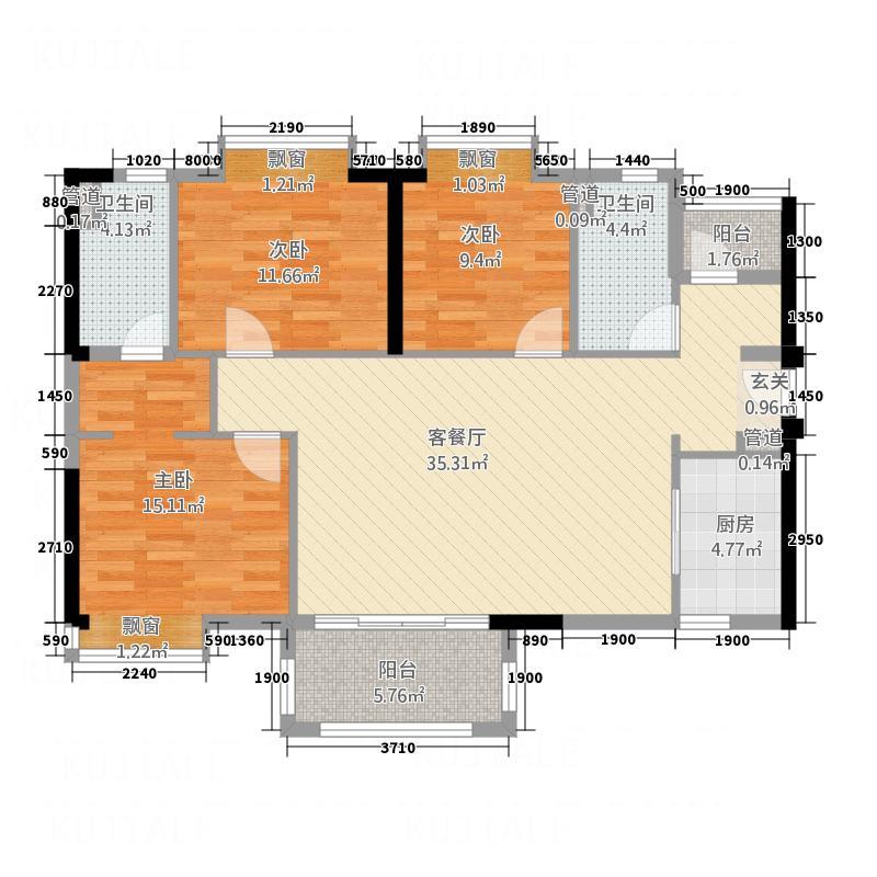 万科MAGA社区11.00㎡A1户型3室2厅2卫1厨