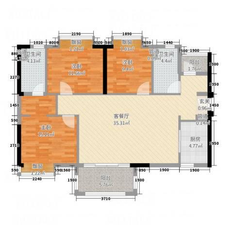 万科MAGA社区3室1厅2卫1厨92.70㎡户型图