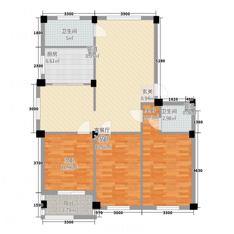 越通・三味舒屋12.23㎡510号楼户型3室2厅2卫1厨