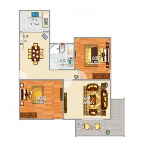 金杨公寓2室2厅1卫1厨91.00㎡户型图