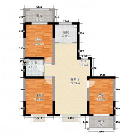 晟宝龙广场3室1厅1卫1厨76.00㎡户型图