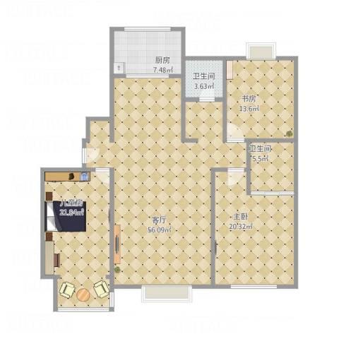 锦绣龙轩3室1厅2卫1厨177.00㎡户型图