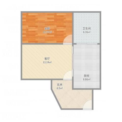 龙园8号1室1厅1卫1厨63.00㎡户型图