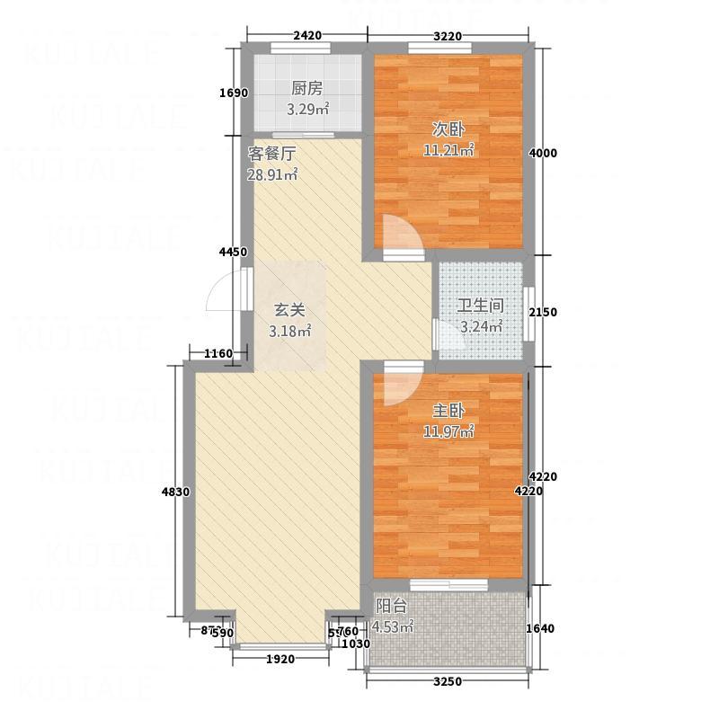 城市印象8.50㎡F户型2室2厅1卫1厨